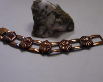 Vintage Copper-Tone Panel Bracelet