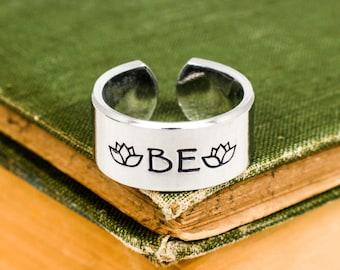 "Just ""Be"" - Lotus - Adjustable Aluminum Ring"