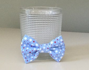Tiny Dog Bow / Bow Tie - Baby Blue w White Red Dots