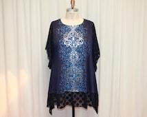 Plus size tunic Boho Womens top Shabby chic dress Loose fit tunic Ladies tunic upcycled clothing Modern urban wear navy blue polka dot 2X-3X