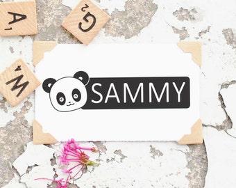 Children's Name Stamp, Name Self-Inking,  Kids Name Stamp, Panda Stamp, Personalized Name Stamp, Custom Rubber Stamp- 10245