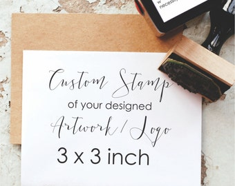 Custom Stamp 3x3-  3 Inch Custom Logo Stamp, Business Card Stamp, Personalized Stamp - Custom Business Stamp, Custom Rubber Stamp