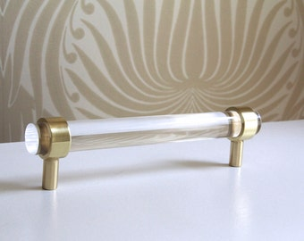 "3/4"" Dia. Polished or Satin Brass Drawer Pulls - Lucite Cabinet Handles"