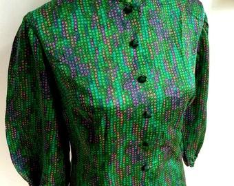 1960s - Haute Couture SIGELSTOFF MODELE Satin Blouse (M Fit)