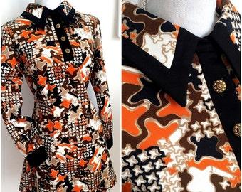 1960s Geometric Mini Dress by Henry Lee (M/L Fit)