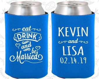 Cerulean Blue Wedding, Can Coolers, Cerulean Blue Wedding Favors, Cerulean Blue Wedding Gift, Cerulean Blue Party Decorations (239)