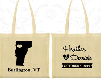 Vermont Wedding, Vermont Tote Bags, Imprinted Canvas Tote Bags, Destination Wedding Bags, State Tote Bags, Welcome Wedding Bags (144)