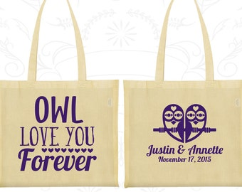 Owl Love You Forever, Wedding Favor Cotton Bags, Owl Wedding Bags, Owl, Love you Forever, Personalized Tote (369)
