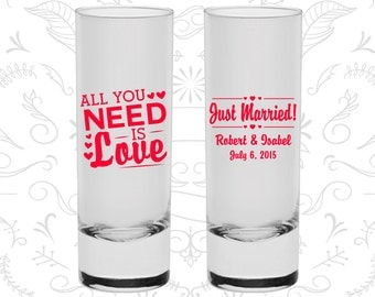 All you need is love Shooters, Promotional Tall Shot Glasses, Just Married Shooters, Wedding Shooters (527)
