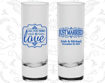 All you need is love Shooters, Wedding Tall Shot Glasses, Just Married Shooters, Vintage Wedding Shooters, Wedding Shooters (528)