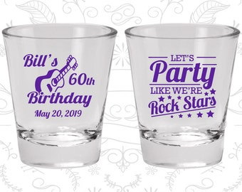 60th Birthday, Rock Star Birthday, Rock Star Party, Birthday Glasses (20174)