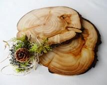 "7""-6"" Wood Slices, Wood Slabs, Tree Slices, Tree Trunk Slices, Wood Trivetts, Chargers,Wedding Decor, Set of 2"