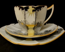 ART DECO Shelley 'Queen Anne' Sunrise & Tall Trees tea cup trio in superb condition
