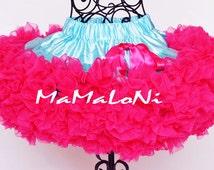 MaMaLoNi Baby Girl's PREMIUM Turquoise & Hot Pink pettiskirt, tutu, petticoat, photo prop, size Newborn to 4 years old