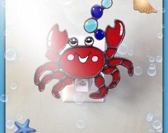 Custom Made Crab, Stained Glass, Night Light, Sun Catcher, Ocean Animal