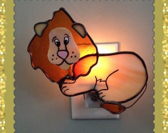 Stained Glass Leopode The Lion Night Light or Sun Catcher