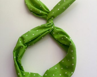 Byrd Band- Bendable Wire Headband- Bright Green and White Polka Dots
