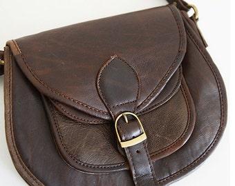 Old Skool Leather Shoulder Bag / Leather Crossbody Bag / Handmade Bag / Satchel