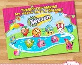 YOU PRINT Shopkins Pool Birthday Party thank you card - Shopkins Summer swim/swimming Party
