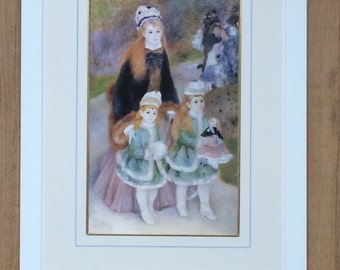 "Framed and Mounted Mother and Children - Pierre Auguste Renoir Print - 16"" x 12"""