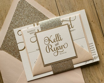 Glitter Wedding Invitations Letterpress Blush and Gold Suit Of 100 London