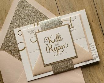 Glitter Wedding Invitations Letterpress Blush and Gold Suit Of 100 London