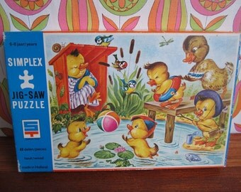 Vintage Simplex Wooden Jigsaw Puzzle Ducks Duckling Swimming Pond Girl Boy Children Child's Toy 6-8 Years Plywood No. 616/E/48 Michaëlis 60s
