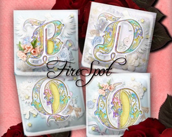 Flowers Letter - Digital Collage Sheet 1.5inch,1 inch,25 mm,20 mm Square Glass Pendants, Bottlecaps,Scrapbooking