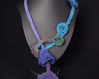 Not just a scarf...Artisan,crochet and knitted adornment Blue/green/purple cones flowers