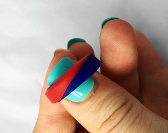 Dark red and blue striped band ring - MADE TO ORDER