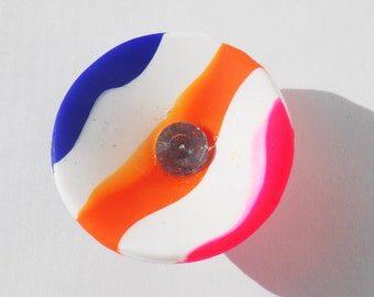 Striped neon ring bowl, matte striped bowl