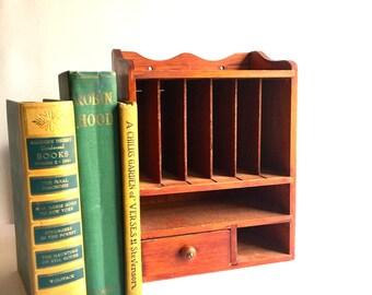 Vintage Wooden Wall Organizer, Desk Organizer