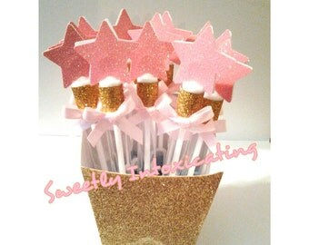 SHIPS 3-5 DAYS. 12CT Twinkle Twinkle Little Star pink & gold bubble wands. Princess theme, 1st birthday, party favor or decor.