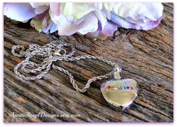 Rainbow Heart Cremation Urn Necklace, Rainbow Bridge Heart Urn, Crystal Rainbow Urn, Heart Ashes Urn, Rainbow Memorial Urn, Rainbow Urn