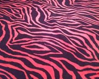 Pink Zebra Fleece Tie Blanket