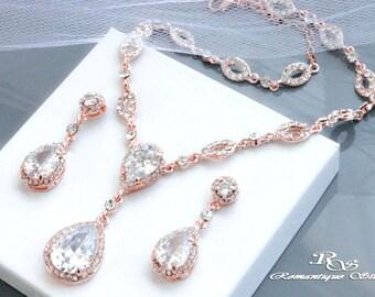ROSE GOLD Bridal jewelry set Rhinestone necklace set Crystal Bridal necklace set Crystal wedding jewelry Wedding accessories  S0154RG