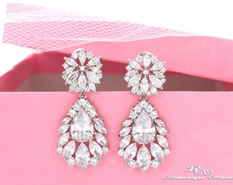 Cubic zirconia earrings CZ bridal earrings wedding jewelry CZ wedding earrings Swarovski crystal earrings wedding accessories 1364