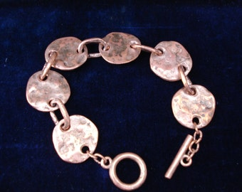 "Hammered Copper link Bracelet. 8"" long and looks just Great!!"