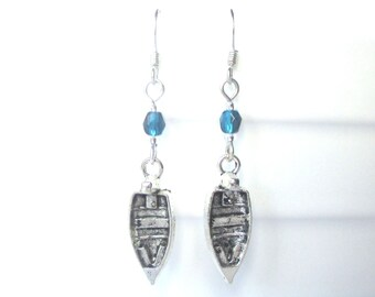 Rowing boat earrings - Boat earrings - Blue earrings - Nautical gift - Nautical earrings - Teal - Stocking filler - Novelty earrings - Uk
