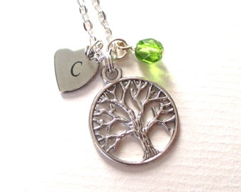 Initial necklace - Personalised tree necklace - Birthstone necklace - Charm necklace - Birthday gift - Woodland jewellery - UK seller