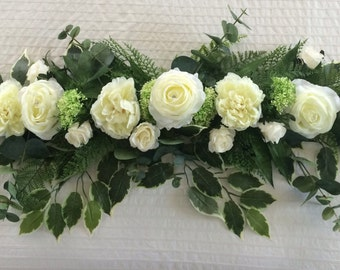 wedding top table centrepiece swag/garland vintage ivory roses & peonies and greenery perfect for church door arch, ceremony  or wedding car