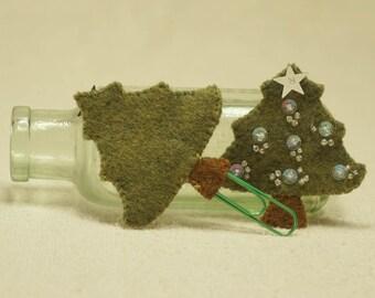 Wool Felt Christmas Tree, Christmas Tree Book Marker with Green Paperclip, Wool Felt Christmas Decoration *Ready to ship