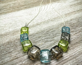 Grey, Blue, and Green Romance Necklace