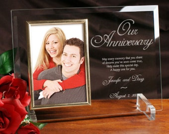 Personalized Our Anniversary Beveled Glass Frame
