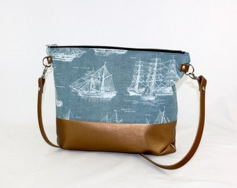 Ship ahoy copper Crossdiv bag with leather handles