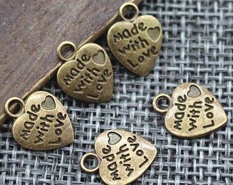 20 x Made With Love 12mm Bronze Heart Charm Pendant. Ideal for Arts, Crafts, Jewellery Making &  Accessories