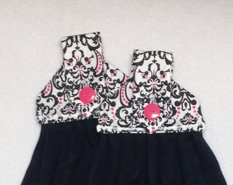 Black White and Pink Damask Hanging Kitchen Towels-Combo Available
