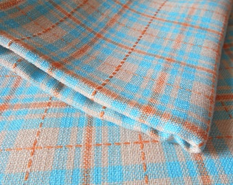 """Unique Linen fabric large piece , blue and orange stripes and squares . 61 """" x 53 """" High Quality Fabric Linen"""