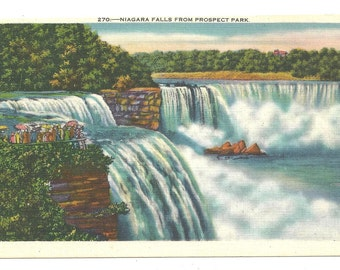 Niagara Falls from Prospect Park   1940's Postcard
