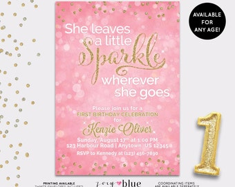 Pink & Gold First Birthday Invitation - She leaves a little SPARKLE wherever she goes Invite - Printable Pink Glitter Confetti - Digital